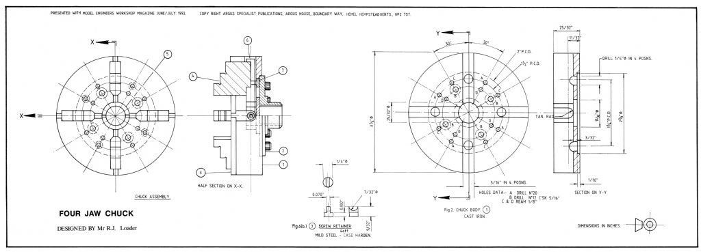 four-jaw chuck plan side one