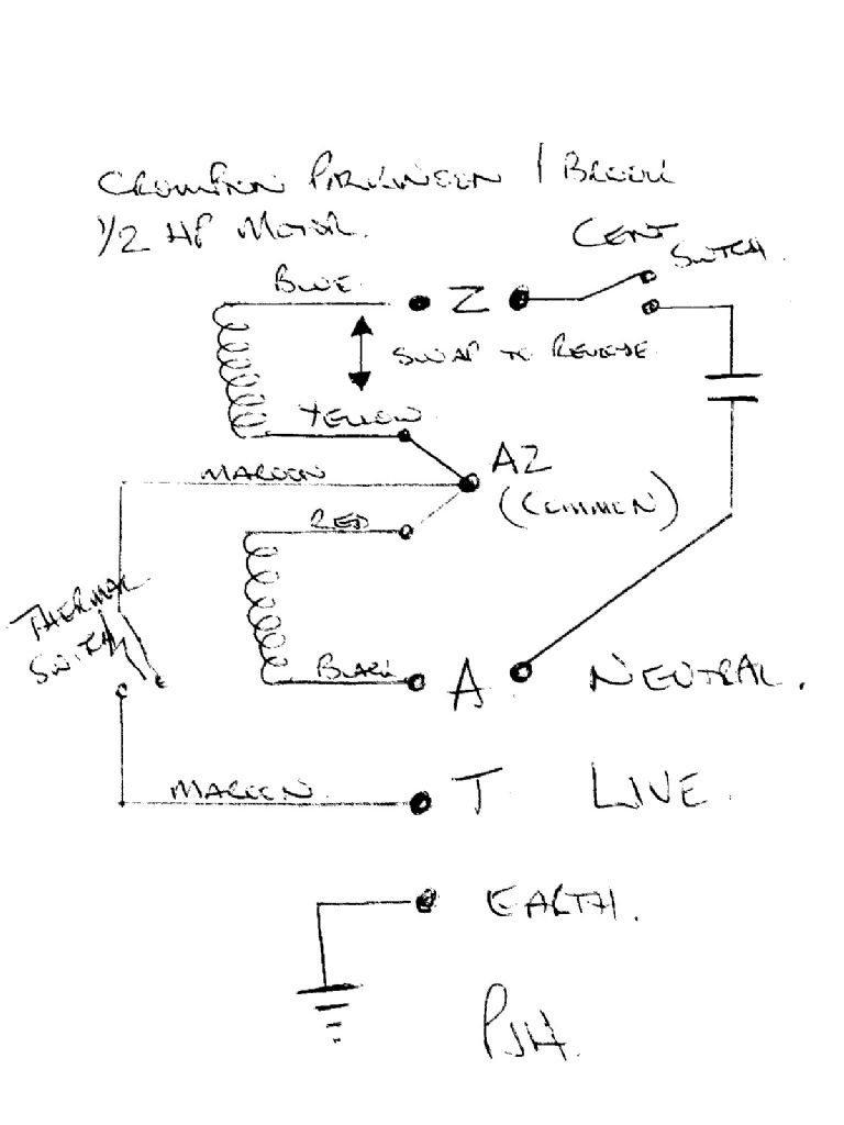 on capacitor start motor diagrams