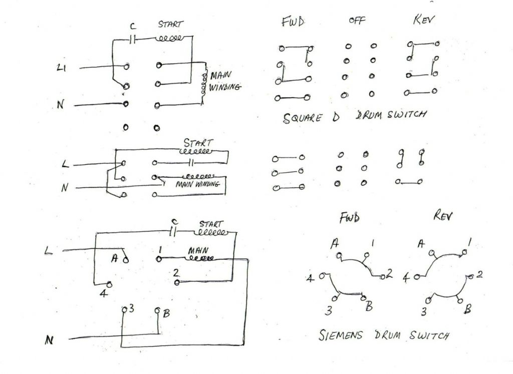 how to connect a single phase motor reversing switch